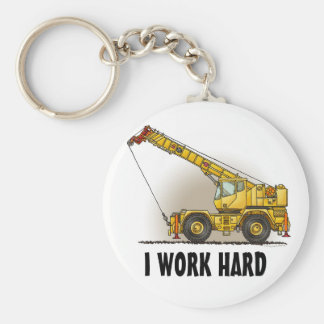 Crane Construction Equipment Key Chain I Work
