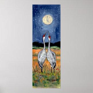 Crane Couple Watching Moon Poster Navy Stars Night