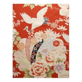 Crane Flowers Postcard