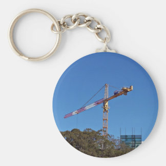Crane in construction basic round button key ring