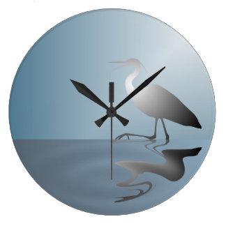 Crane in Lake Wall Clock