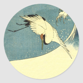 Crane In Ocean Wave Round Sticker
