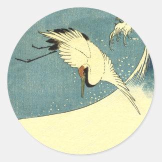 Crane In Ocean Wave Round Sticker