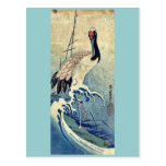 Crane in Waves by Ando, Hiroshige Uiyoe. Postcard