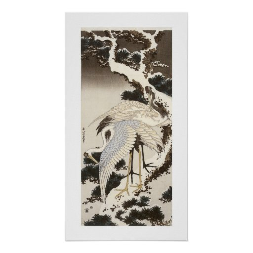 Crane on a Pine Tree Poster