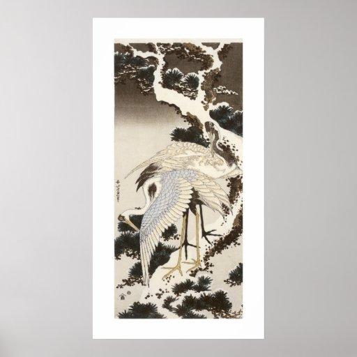 Crane on a Pine Tree Print
