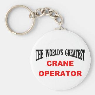 Crane operator basic round button key ring