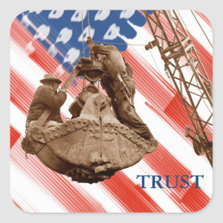 Crane Operator Northwest Crane USA Flag Trust Square Sticker