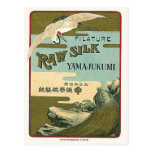 Crane & Turtle Vintage Japanese Silk Label Postcard