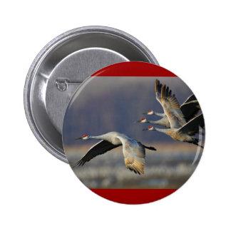 cranes 6 cm round badge