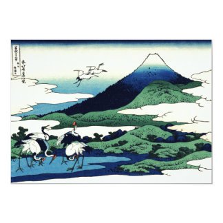 Cranes and Mountain in Clouds Card