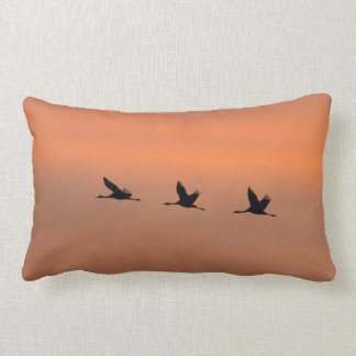 Cranes at sunrise lumbar cushion