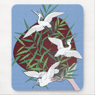 Cranes, bamboo and fan mouse mat