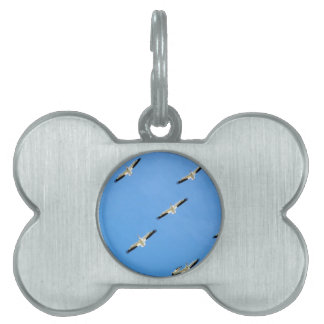 Cranes Flying on Blue Sky Pet ID Tag