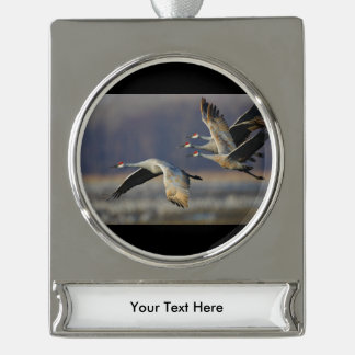 cranes in flight silver plated banner ornament