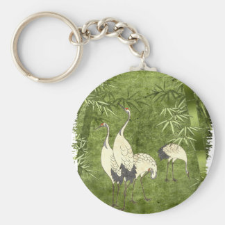 Cranes in the Bamboo Forest Keychain