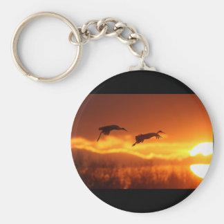 cranes basic round button key ring