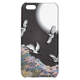 Cranes, moon and pines iPhone 5C case