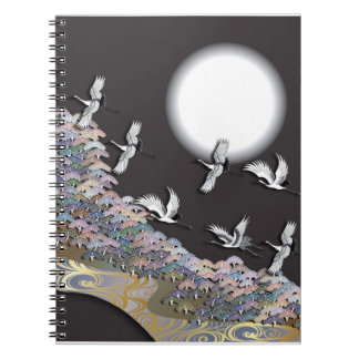 Cranes, moon and pines spiral notebook