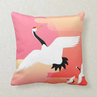 Cranes on a colorful background cushion