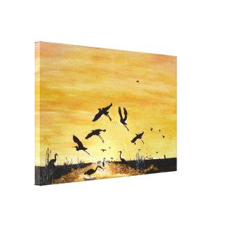 Cranes on the safari gallery wrap canvas