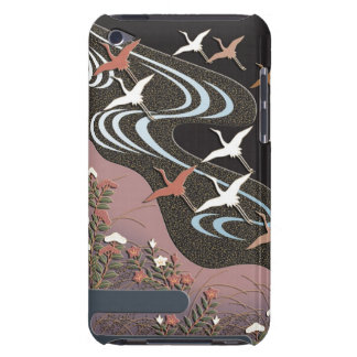 Cranes,river,autumn flowers and mist iPod touch cover