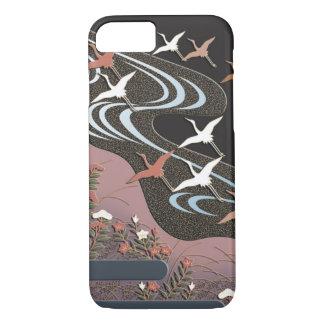 Cranes,river,autumn flowers and mist iPhone 7 case