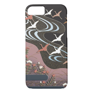 Cranes,river,autumn flowers and mist iPhone 8/7 case