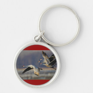 cranes Silver-Colored round key ring
