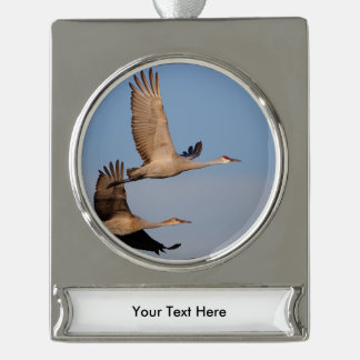 cranes silver plated banner ornament