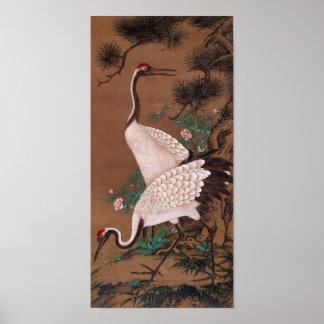 Cranes, Watanabe Shuseki Japanese Fine Art Poster