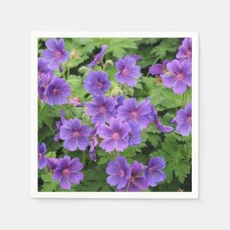 Cranesbill Geranium Floral Paper Napkins