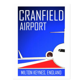 Cranfield Airport vintage advert postcard