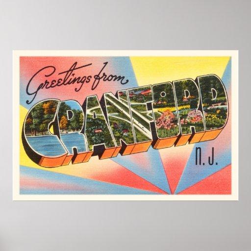 Cranford New Jersey NJ Vintage Travel Postcard- Poster