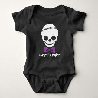 Cranio Baby Boy Skull with Purple Bowtie Baby Bodysuit