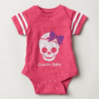 Cranio Kid Girl Skull with Purple Bow Baby Bodysuit