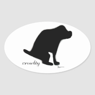 Crapping on Cruelty Oval Sticker