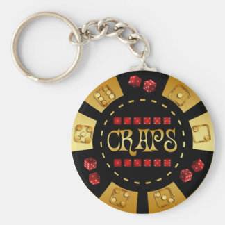 CRAPS GAMING CHIP BASIC ROUND BUTTON KEY RING