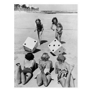Craps in the Sand 1940s Postcard
