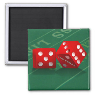 Craps Table With Las Vegas Dice Square Magnet