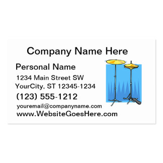 Crash Cymbal and HiHat Cymbal Blue Background Business Card Templates