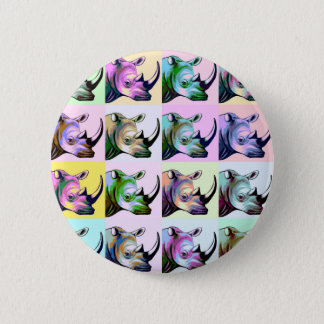 Crash of Rhinos Pop Art 6 Cm Round Badge