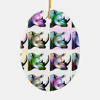 Crash of Rhinos Pop Art Christmas Ornament