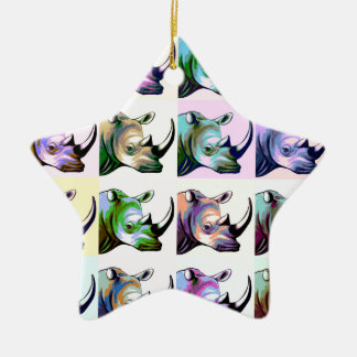 Crash of Rhinos Pop Art Christmas Ornament