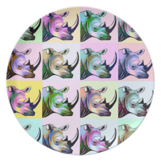 Crash of Rhinos Pop Art Plate