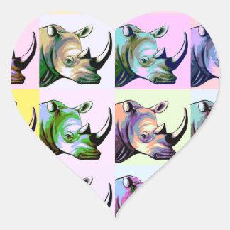 Crash of Rhinos Pop Art Heart Stickers