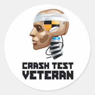 Crash Test Veteran Round Sticker