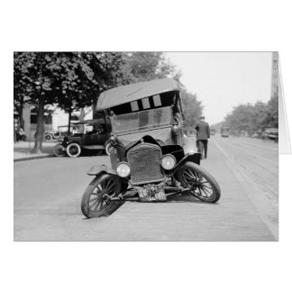 Crashed Vintage Car, 1922 Card
