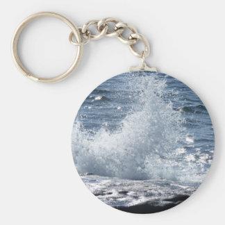 Crashing Waves Basic Round Button Key Ring