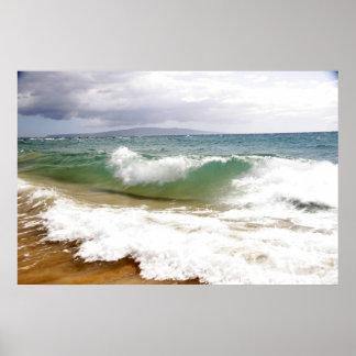 Crashing Waves in Maui Poster